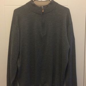 Peter Millar grey long sleeve 1/4 zip pullover